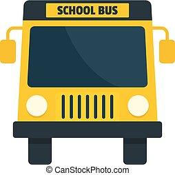 mini, skola, lägenhet, buss, stil, gul, ikon