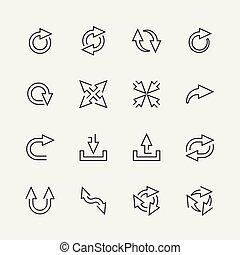 mini, stile, contorno, icone, set, frecce, vettore