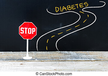 Mini STOP sign on the road to DIABETES