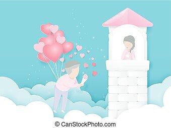 mini, style, amour, formé, concept., voler, jeune, coeur, papier, conception, art, homme, ballons, castle., femmes