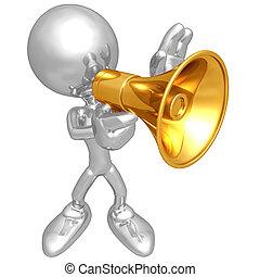 mini, sujeito, megafone, original