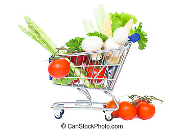 mini supermarket car isolated over a white background. healthy food shopping concept