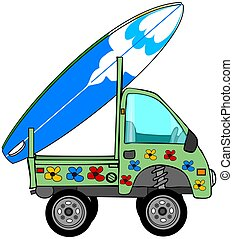 Mini Surf Truck - This illustration depicts a colorful...