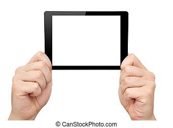 mini, tablette, écran, isolé, main, prise, homme