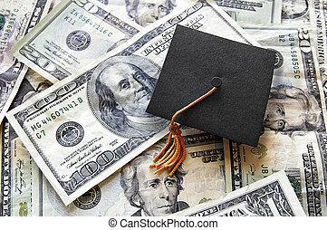 mini, topo, boné, dinheiro, graduação, pilha