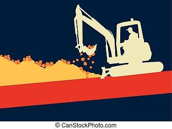 mini, trabalhando, escavador, dentro, trabalhador, local, vetorial, construção, cabana