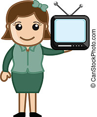 Mini TV in a Girl Hand Vector