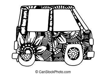 mini, van., hippie, car, vindima