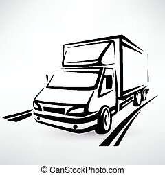 mini van outlined sketch, isolated vector symbol