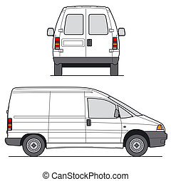 Mini Van Vector - Delivery Mini Van - Layout for ...