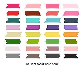 mini, vecteur, coloré, collection, washi, bande, bandes