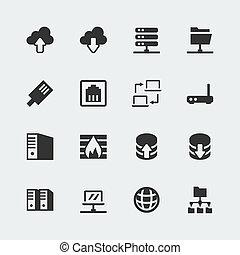 mini, vecteur, ensemble, réseau, icônes
