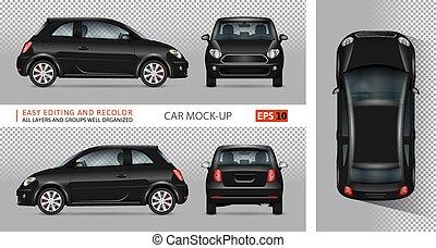 mini, vecteur, noir, illustration., voiture