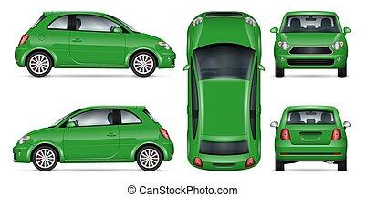 mini, vecteur, vert, illustration., voiture
