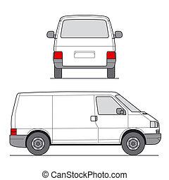 mini, vector, furgoneta