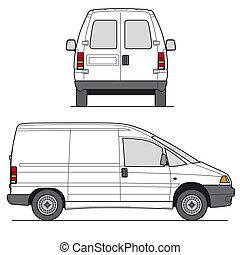 mini, vektor, furgon
