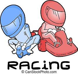 mini, versenyzés, kart, moto
