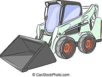 mini, vetorial, escavador