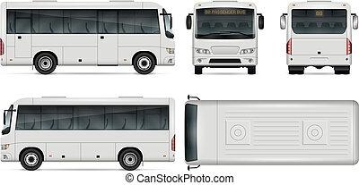 mini, vetorial, ilustração, autocarro
