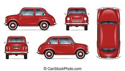mini, vettore, rosso, manichino, automobile