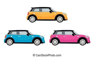 mini, voiture, orange