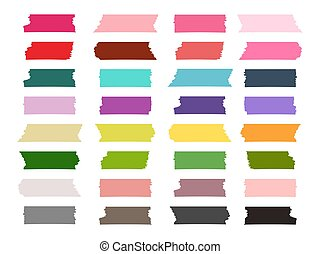 Mini washi tape strips colorful vector collection