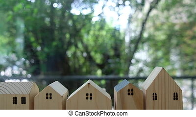 Mini wood home. Planning buy Real Estate, eco house icon concept.