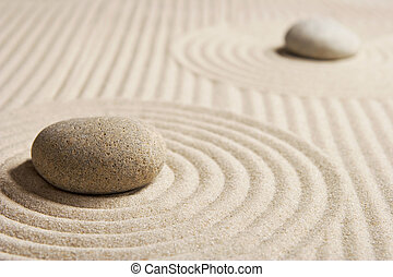 Mini Zen Garden - Stones on raked san; Mini rock garden; Zen...