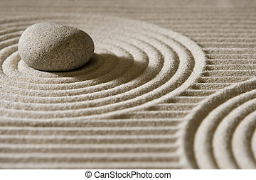 Mini zen garden - Stone on raked sand; mini rock garden; Zen...