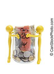 Miniaiture Figures and Jar of Money