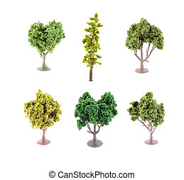 miniatura, artificial, árboles