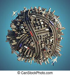 miniatura, caotico, urbano, pianeta, isolato