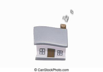 miniatura, casa, con, argento, chiavi, concetto, di, uno, casa nuova, beni immobili, e, proprietà, concetto