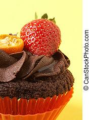 miniatura, cioccolato, fragola, cupcake
