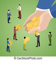 miniatura, empresarios, con, bitcoins., en línea, pago,...