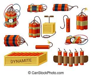 miniatura, fusibles, preparado, vector, abrasador, palos, avisador, listo, cinturón, set., caja, detonators, explosivos, dinamita, detonar, tnt., cartucho, cable, bomba, rojo, mano, dispositivo, hazard., manojos