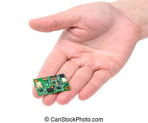miniatura, handground, tablero electrónico, circuito