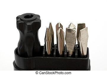 miniatura, herramienta, conjunto