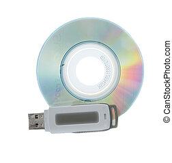 miniatura, impulsión de cd, pulgar