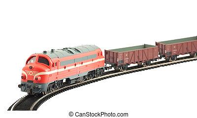miniatura, modelo, de, a, trem