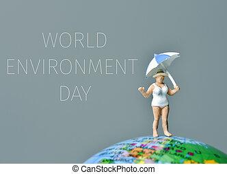 miniatura, mujer, y, texto, mundo, ambiente, día