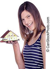 miniatura, mulher, rir, casa