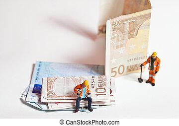 miniatura, národ za, děj, s, euro banknotes