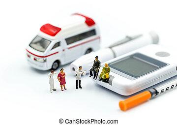 miniatura, pessoas, :, doutor, e, socorrista, assistindo, para, paciente ambulância, ambulância, conceito