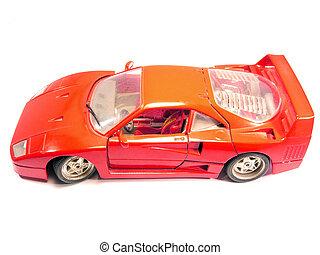 miniatura, rojo, deporte, coche