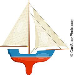 miniatura, sailboat, isolado, experiência., vect, modelo, branca
