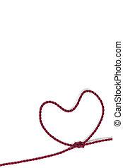 miniatura, trabalhador, edifício equipe, coração amoldou, com, corda