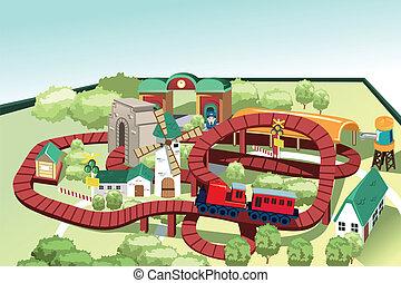 miniatura, trem brinquedo, pista