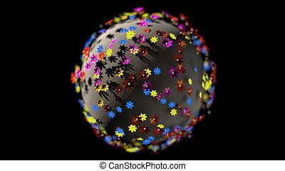 Miniature 3d render planet of cartoon color flowers isolated on black background