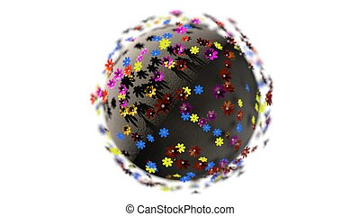 Miniature 3d render planet of cartoon color flowers isolated on white background